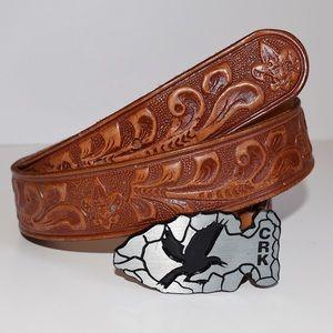 BOGO 50% OFF Tooled Leather Eagle Buckle Belt 38